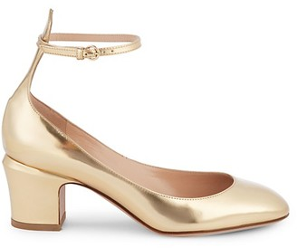 Valentino Metallic Leather Block Heel Pumps