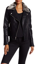 French Connection Faux Fur Trimmed Faux Leather Jacket