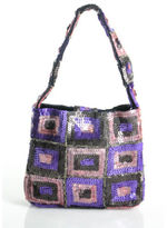 Moyna Purple Pink Brown Sequined Square Mini Small Tote Handbag