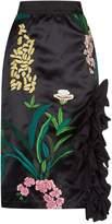 Johanna Ortiz Tropical Embroidered Ruffle Midi Skirt