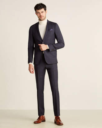 Sand Two-Piece Navy Plaid Wool Suit