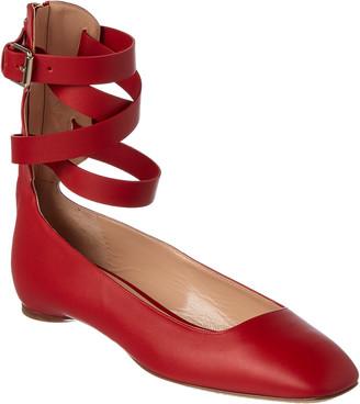 Valentino Leather Ankle Wrap Ballerina Flat