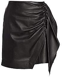 LAMARQUE Women's Aulis Draped Leather Mini Skirt