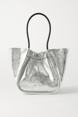 Proenza Schouler Large Ruched Metallic Crinkled-leather Tote - Silver