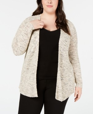 Belldini Plus Size Heathered Metallic Open-Front Cardigan Sweater