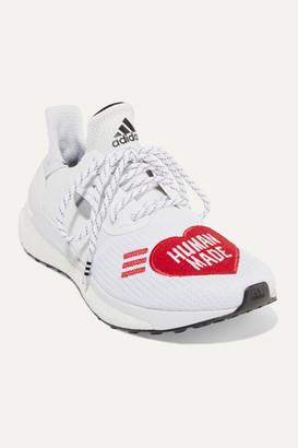 adidas Pharrell Williams Human Made Solar Hu Appliqued Mesh And Neoprene Sneakers - White