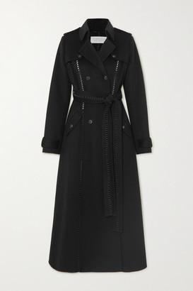 Gabriela Hearst Franz Belted Leather-trimmed Cashmere Trench Coat - Black