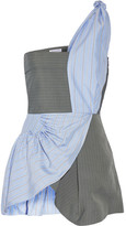 J.W.Anderson One-shoulder Striped Crepe And Silk-twill Peplum Top - Blue