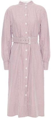 Tibi Belted Striped Cotton-poplin Midi Shirt Dress