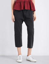 The Great Convertible tapered cropped high-rise stretch-cotton trousers