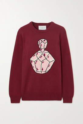 Casablanca Intarsia Cotton Sweater - Burgundy