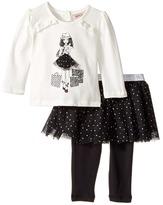Nanette Lepore Kids - Shopping Girl Tee with Dot Glitter Tutu and Leggings Set Girl's Active Sets