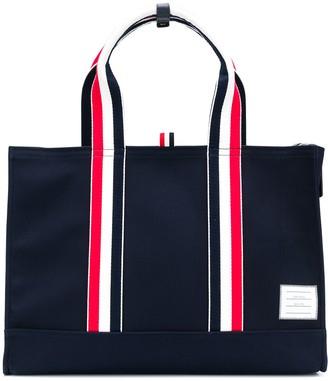 Thom Browne East-west Rwb Handle Canvas Tote Bag
