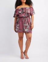Charlotte Russe Plus Size Floral Off-The-Shoulder Dress