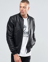 Solid Leather Bomber Jacket
