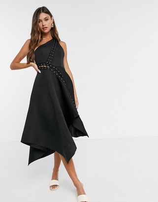ASOS DESIGN one shoulder midi prom dress with asymmetric hem and lace up eyelet detail in black