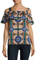 Max Mara Acino Printed Off-The-Shoulder Top