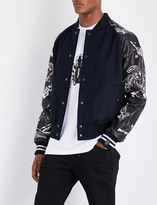 Lanvin Hand drawn wool-blend and leather bomber jacket