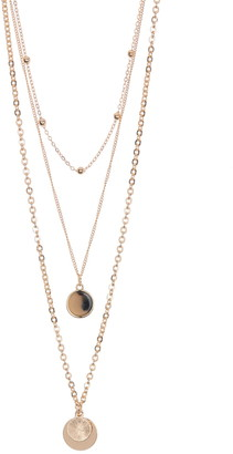 Area Stars Double Disc Layered Necklace Set