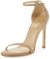 Stuart Weitzman Nudistsong Suede Ankle-Wrap Sandal, Sand