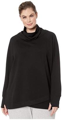 Jockey Active Plus Size R R Cowl Sweatshirt (Black) Women's Clothing
