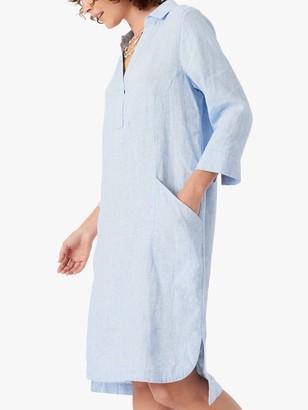 Brora Fine Houndstooth Linen Shirt Tunic Dress, Sky