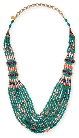 """Devon Leigh Turquoise & Coral Long Beaded Necklace, 38"""""""
