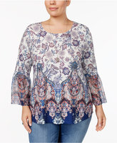 Style&Co. Style & Co Plus Size Printed Bell-Sleeve Top, Only at Macy's
