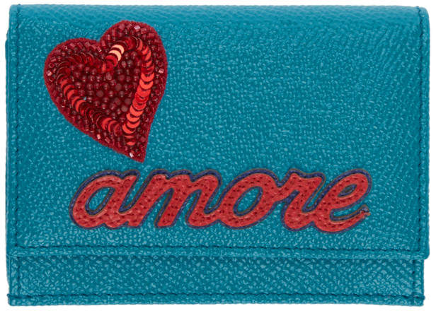 Dolce & Gabbana Blue Trifold Amore and Heart Wallet