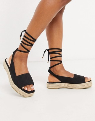 Raid Vinny straight cut espadrille sandals with ankle ties in black