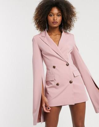Asos Design DESIGN premium longerline split sleeve blazer-Pink