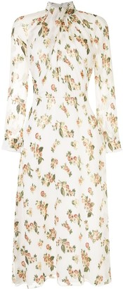 Adam Lippes Floral Twist-Neck Dress