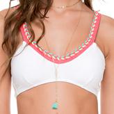 Luli Fama Multicolor Crochet Sporty Top In White (L528405)