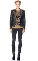 Alice + Olivia Adel Curved Hem Fitted Leather Jacket
