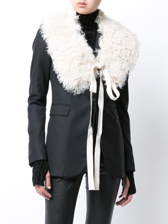 Helmut Lang asymmetric fur collar jacket