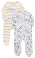 F&F 2 Pack of Dinosaur Sleepsuits, Infant Unisex