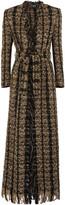 Balmain Belted Metallic Bouclé-tweed Coat - Black