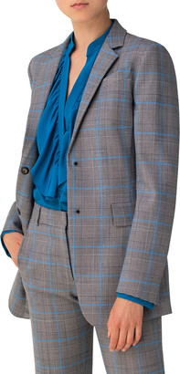 Akris Punto Plaid Wool-Blend Long Blazer