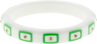 Mark Davis White Staron And Green Bakelite Bangle