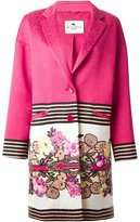Etro floral and stripe print coat