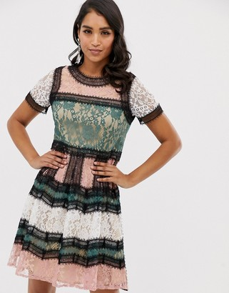 Forever U contrast lace skater dress with in colour block-Multi