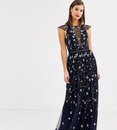 Asos Tall DESIGN Tall pretty embroidered floral and sequin mesh maxi dress