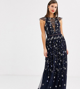 Asos DESIGN Tall pretty embroidered floral and sequin mesh maxi dress