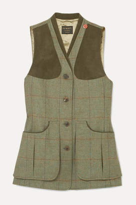 James Purdey & Sons - Alcantara-trimmed Checked Wool-tweed Vest - Green
