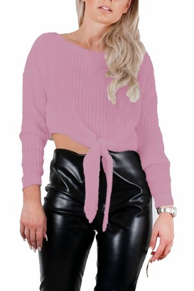 janisramone Womens Ladies Tie Knot Crop Jumper Chunky Knitted Long Sleeve Casual Sweater Short Warm Top Dusty Pink