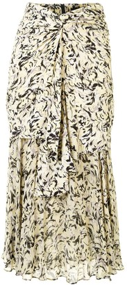 Proenza Schouler Abstract-Print Layered Midi Skirt