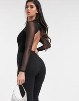 Asos DESIGN ultra low back bodysuit with high neck in black