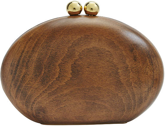 "Malini Murjani Polished Wood Clutch with Detachable Chain Strap ""Blondie"""