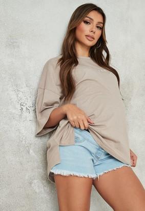 Missguided Blue Over Bump Frayed Hem Maternity Denim Shorts