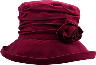 Waterproof Velour Packable Rain Hat with Detachable Flower Wine by Proppa Toppa
